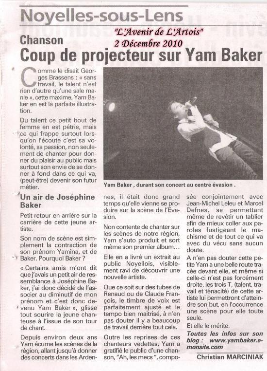 """Article de C.Marciniak pour """"L'Avenir de l'Artois"""""""